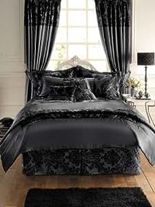 Royal Damassé Noir Satin Couvre lit - Couverture, 2 personnes (240 x 220cm) + 2x Taies 50x75 de luxe