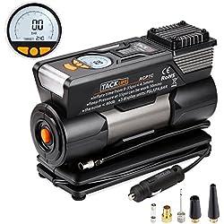 Compresor de aire, TACKLIFE-ACP1C- Bomba inflador portátil Coche con pantalla digital, luz LED, 12V, 4 adaptadores boquilla, cable de 2,8m , para Vehículos, Neumáticos, Pelotas, Objetos hinchables