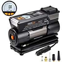 Digital Tyre Inflator, Tacklife ACP1C Preset Air Compressor Pump, 12V Tyre Pump with Larger Air Flow 35L/Min, 4 Nozzle Adaptors , 2 Mode LED Light, Extra Fuse and Progress Display (Robust Carry Case Included)