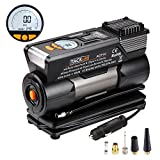 Digital Tyre Inflator, Tacklife ACP1C Air Compressor Pump, 12V Tyre Pump with Larger Air Flow 35L/Min, 4 Nozzle Adaptors , 2 Mode LED Light, Extra Fuse and Progress Display (Robust Carry Case Included)