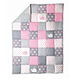#9: Light Grey Baby Crib Blanket Cute Fish Pattern Cradle Comforter for Newborn Babies Warm and Soft Toddler Quilt by Rajrang