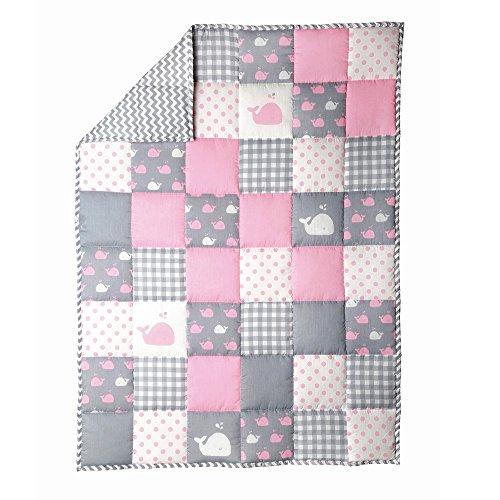 Rajrang copripiumino per bambino grigio e rosa copriletto morbido per bambini 97 x 127 cm baby quilt per neonato coperta culla per bambini