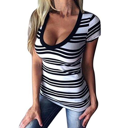Bekleidung Longra Damen Sommer Kurzarm T-Shirt V-Ausschnitt V-Ausschnitt Streifen Tops Bluse Kurzarm Slim Fit T-Shirts White