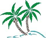 INDIGOS UG - WANDTATTOO / Wandsticker / Wandaufkleber / Aufkleber DW430 mehrfarbig Palme Pflanze Wandaufkleber / Aufkleber 142 x 120 cm