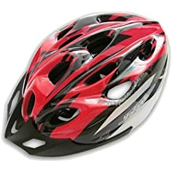 Casco - JSZ casco de bicicleta para los adultos hermoso casco de carbono con visera-negro+rojo