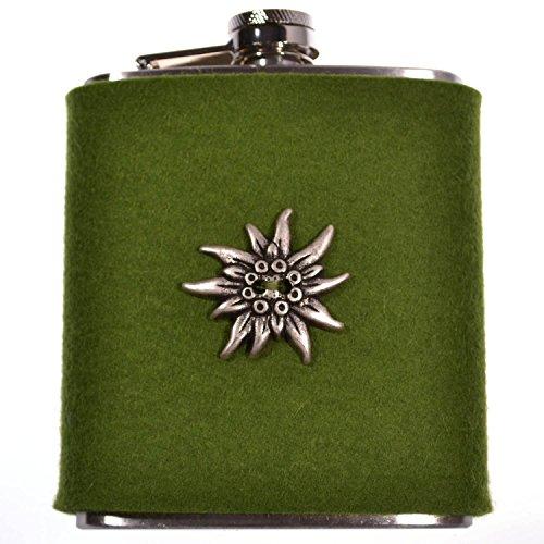 Flachmann EDELWEISS Grün – Taschenflasche mit Filzhülle