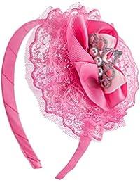 SIX Kids Pinker Krönchen Haarreifen mit Tüll und Perlen (305-260)