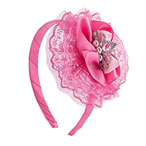 SIX Kids Pinker Krönchen Haarreifen mit Tüll und Perlen, Kostüm, Prinzessin, Karneval, Fasching (305-260)