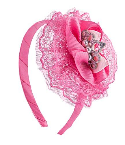 SIX Kids Pinker Krönchen Haarreifen mit Tüll und Perlen, Kostüm, Prinzessin, Karneval, Fasching (Macht Ein Skelett Kostüm)