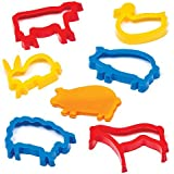 Farm Animal Dough Cutters for Children for Baking Cookies Modelling and Making Countryside Scenes (Pack of 6)