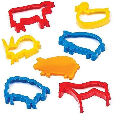 Stampini Tagliapasta Animali della Fattoria per Bambini per Preparare Biscottini e Creare Modelli e Scene di Campagna (confezione da 6)
