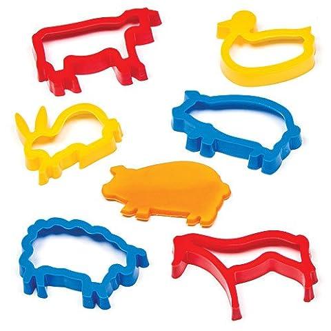 """Ausstechformen """"Tiere auf dem Bauernhof"""" für Kinder zum Keksebacken, Modellieren und Basteln von Landschaften (6 Stück)"""