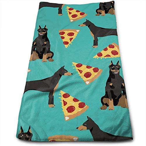ewtretr Asciugamani Viso-Mani, Doberman Pinscher Turquoise Pizza Multi-Purpose Microfiber Towel...