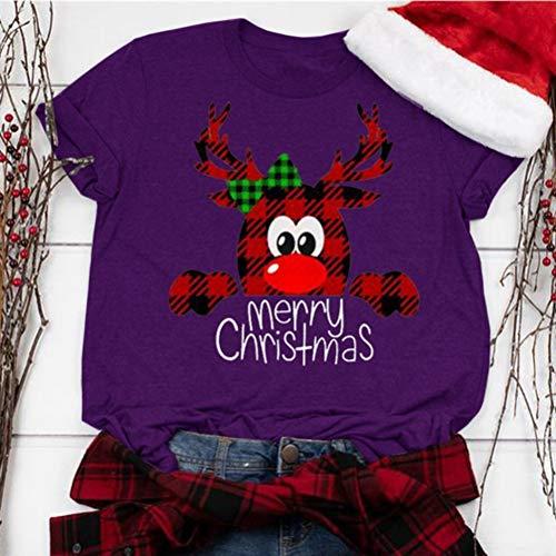 HS-ZMER Weihnachten Drucken T-Shirt Damen Kurzarm Pullover Weihnachtskostüm 2019 Feiertags-Party-Kleidung Fitness T-Shirt Sweatshirt,XXXXL