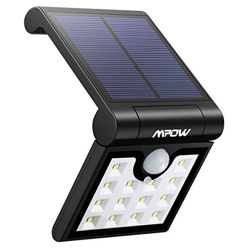 Mpow 14 LED Plegable Luz Solar, Sensor de Movimiento, Luz Exterior Portátil, Luz de Pared Brillante, Fácil de Llevar, Ángulo de Detección de 120°, Resistente a la Intemperie, Gran Luz Exterior para Jardín, Calzada, Cercado, Garaje, Camino y Patio