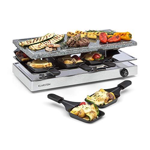 Klarstein Gourmette Raclette con Plancha de Piedra Natural • Raclette-Barbacoa • Fiestas de Barbacoa • 8 Personas • 1200 W • Termostato • Regulable • Carcasa de Acero • 3 Pisos • Accesorios