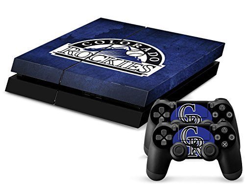 MightySticker® PS4 Designer Skin Game Console System plus 2 Controller Decal Vinyl Protective Covers Stickers f Sony PlayStation 4 - MLB Colorado Rockies CR Flag Logo Baseball Sports Fan by MightySticker® - Colorado Decals