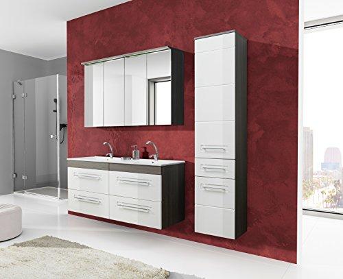 Bademöbel Set von Cosmo Weiß Hochglanz mit Doppel-Waschtisch 120 cm