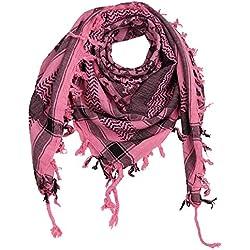 Freak Scene Superfreak® Pañuelo pali con estampado de calaveras 1°chal PLO°100x100 cm°Pañuelo palestino Arafat°100% algodón – rosa/negro