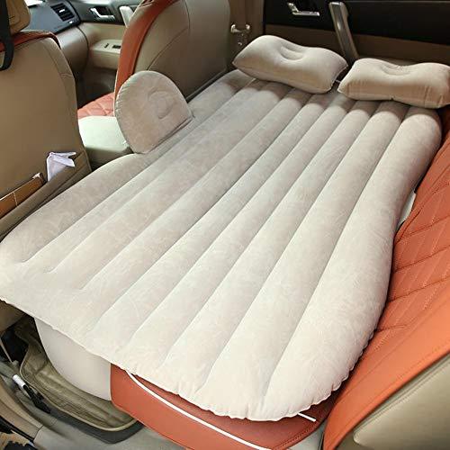 ZXQZ Aufblasbares Bett fürs Auto, tragbar, zusammenklappbar, SUV, universal, aufblasbar, stoßfest, für Erwachsene im Freien, Camping, Kinderbett, bruchsicher, Luftbett fürs Auto, aufblasbar beige