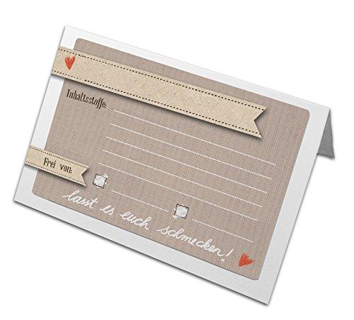 50 Tischkarten & Buffetkarten zum selbst Beschriften und Falten, zur Kennzeichnung der Inhaltsstoffe für Allergiker, natur, BEIGE, Landhausstil, für Hochzeit, Geburtstag, Familienfeier und Café