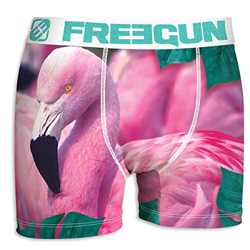 FREEGUN Herren Boxershorts, Wildlife-Edition 16 Verschiedene MEGA-Designs (Flamingo, L/6/50)