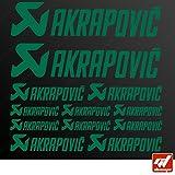 Brett 12Sticker Aufkleber Akrapovic Auspuff Anlage–Grün–Sticker, selbstklebend, Motorrad, Bike, Kit, Deco, Tuning, Decal, gt-design, GT Design, gtdesign