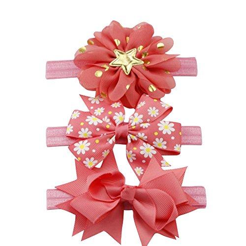 Brightup 3 Stück Kinder elastische Blume / Stern Muster schöne Stirnband Haar Kopf wickeln Mädchen Baby Bowknot Haarband Set