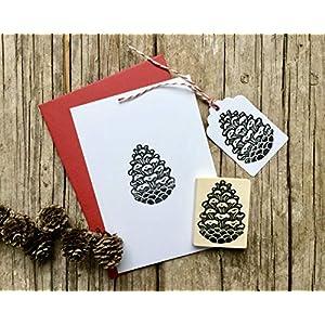 Zapfen Stempel, Motivstempel großer Kiefernzapfen, handgeschnitzt, auf Holz montiert, Weihnachts-Stempel, Weihnachts-Deko, Basteln, Natur Motiv Schulstempel, Kinderstempel, DIY, Geschenk