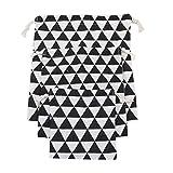 Kissherely 3pcs Sac de Rangement de Rangement pour Le Sac de Petite Taille, Sacs de Gymnastique, Sac de Cadeau de fête de Mariage (Triangle Noir)