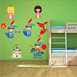 Knight and Dragon Nursery Wall Sticker Decal REPOSITIONABLE Fabric REMOVABLE Vinyl UK Nursery Kids Room Children Bedroom Wall Art Printed Stickers Home Décor Mural Kindergarten Wall Decoration