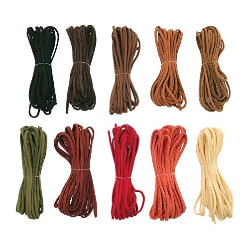 JZK 10 x Cuerda cuero 2.5 mm x 5 m cuerda cuero ante