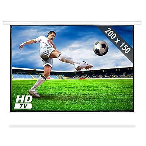 Frontstage - Ecran de projection déroulant pour vidéoprojecteur home cinema de qualité HD - toile de 200x150cm, diagonale de 254cm, format 4:3 - facteur de gain 1.0