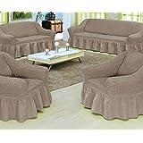 Cotton Sofa Cover, 4 Pieces - Grey