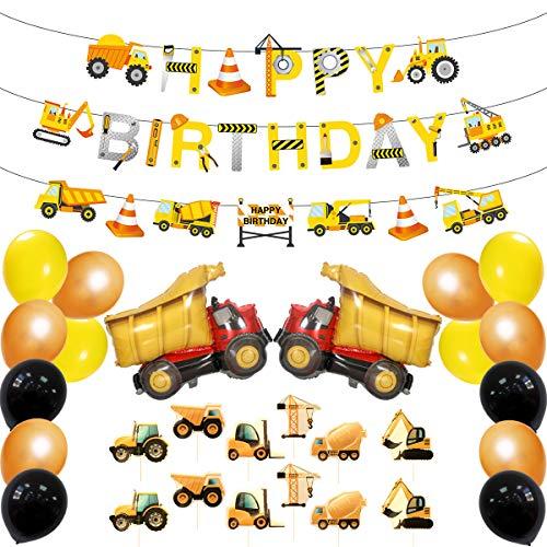 ZJLAJ 34pc Geburtstagsparty Szenendekoration, Technisches Auto Für Kinder, Party-Set, Luftballons, Karten