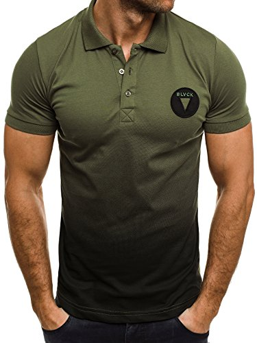 OZONEE Herren Herren Poloshirt Polohemd Polo T-Shirt Kurzarm Figurbetont ZAZZONI 1055 Grün-Schwarz_BREEZY-600