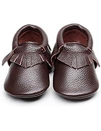 9c64772acf227 Backbuy Bébé Garçons Filles Chaussures en Cuir Souple Chaussures premiers  pas Chaussons A Franges 0-