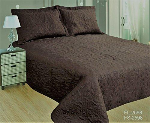 ForenTex- Colcha Boutí Cosida, (FL-2598), cama 150 cm, 240 x 260 cm, Chocolate, +2 cojines, colcha barata, set de cama, ropa de cama. Por cada 2 colchas o mantas paga solo un envío (o colcha y manta), descuento equivalente antes de finalizar la compra.