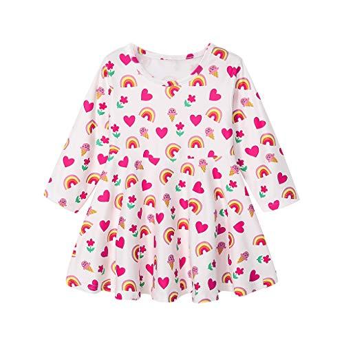 Livoral Baby Madchen Kleid Kleinkind Kind Baby Mädchen Langarm Regenbogen Herz Print Prinzessin Kleid Kleidung(Rot,100)