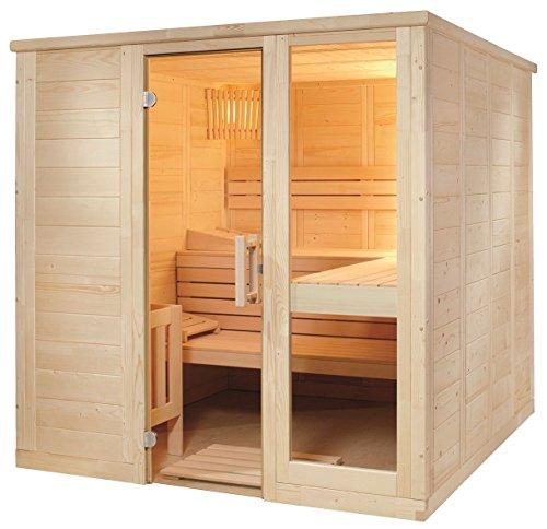 Preisvergleich Produktbild Massivholzsauna Sauna 208 x 206 x 204 komplett mit Glasfront Bio Combi Saunaofen
