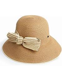 AREDOVL Cappello da Donna Cappello di Paglia Primavera Estate di Grandi  Dimensioni Pieghevole Cappello di Paglia 58b94e523481