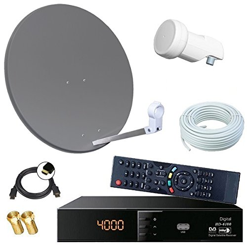 Digital SAT Anlage 60cm + HD RECEIVER + 10m Kabel + Opticum single LNB = HD Komplett Set (3 Farben wählbar)