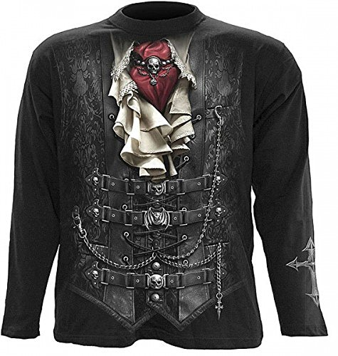 Dark Dreams Gothic Pirat Vampir Longsleeve T-Shirt Waisted Longsleeve Steampunk, (Steampunk Kostüme Genial)
