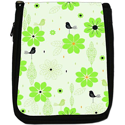 Stile moderno con fiori e uccelli, colore: nero, Borsa a spalla in tela da uomo, taglia media Green