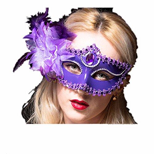 Maskerade,Maske Mädchen Kind Prinzessin Partei Stützgesicht Make-up Tanz Maske halbes Gesicht Lilie Purpurrot Masquerade