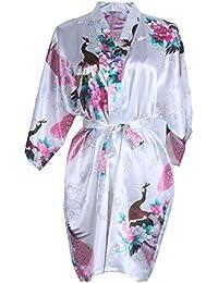 Elite99 Women s Sexy Robes Peacock and Blossoms Kimono Satin Nightwear Mini  Dress 6bb88fce5