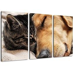 Gato y perro pintura amistad sobre lienzo, (Total Tamaño: 120x80 cm) enormes Fotos completamente enmarcadas con camilla, la lámina en cuadro de la pared con marco