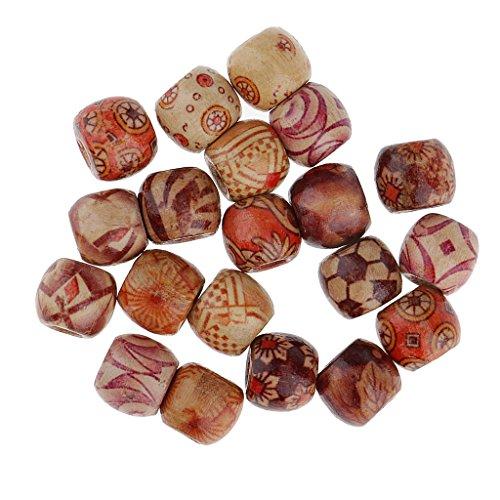ack Haarperlen Bartschmuck Dreadlocks Schmuck Perlen Haarschmuck - Holzperlen, Metallperlen Antiksilber.unterschiedliche Arten - Holz-Bunt ()