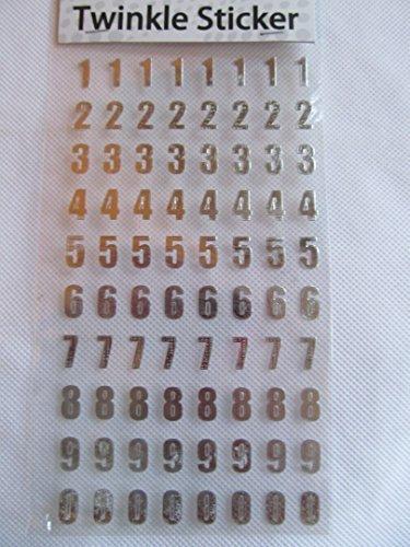 1 x Bogen Scheinig hell gold , silber funkel Alphabet Buchstaben oder Zahlen Aufkleber Sticker für Basteln Kinder Schrott Bücher Karten Handys von fat-catz-copy-catz