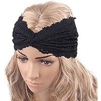 Auxma Moda Mujeres Headwear Twist Sport Yoga Encaje Diadema turbante pañuelo en la cabeza wrap accesorio para el pelo Rosa Caro (Negro)